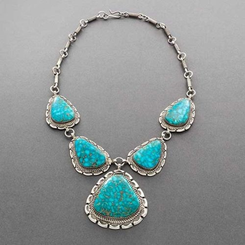 Navajo Necklace of Kingman Turquoise