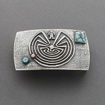 Raymond Sequaptewa Belt Buckle with Maze