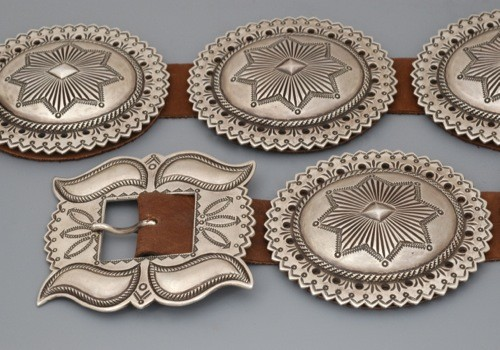 American Indian Jewelry By Perry Shorty Concho Belt For Sale