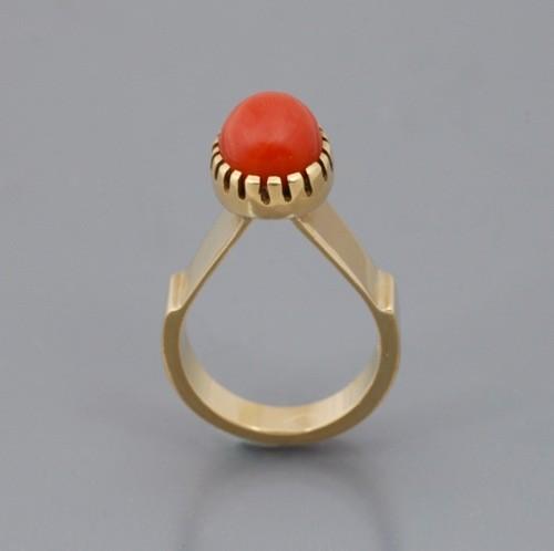 Charles Loloma Gold & Coral Ring