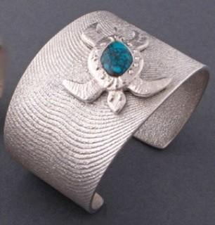 Darryl Begay Bracelet of Silver With Bisbee Turtle