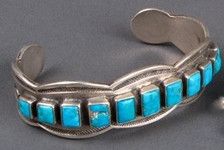 Row Bracelet With Eleven Square Turquoise Pieces