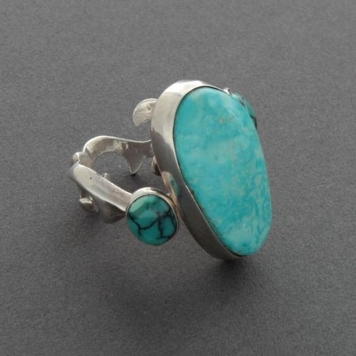 Swirling Turquoise and Silver Ring