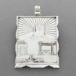 Silver Pendant of Navajo Scene by Alvin Vandever