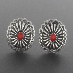 Coral Earrings by Sylvia Begay Radcliffe