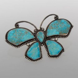 Liz Wallace Butterfly Pin of Natural Kingman Turquoise