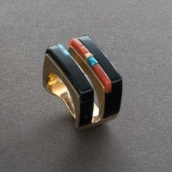 Ring of Black Jade with Inlay by Richard Chavez