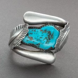 Heavy Silver Bracelet With Turquoise Wrapped by Leafs