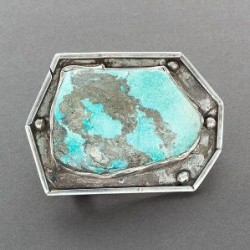 Heavy Navajo Buckle of Silver Set With Morenci Turquoise