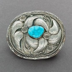 Navajo Buckle with Silver Leaves Flowers Turquoise