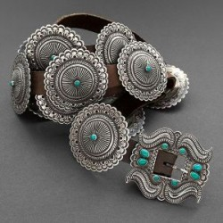 Perry Shorty Concho Belt of Turquoise and Silver
