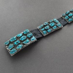 Mark Chee Belt With Lone Mountain Turquoise