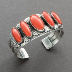 Navajo Bracelet Silver Set with 5 Red Coral Stones