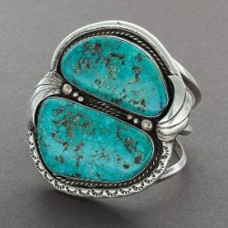 Wide Navajo Bracelet With Two Large Turquoise Stones