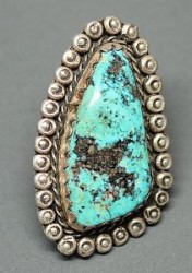 Large Turquoise Ring With Silverwork