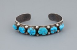 Old Navajo Row Bracelet with Carved Turquoise