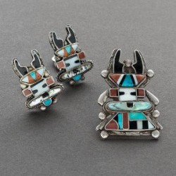 Zuni Antelope Kachina Inlay Set Earrings and Pin