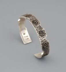 Kee Yazzie Bracelet of Silver with Cutout Edges