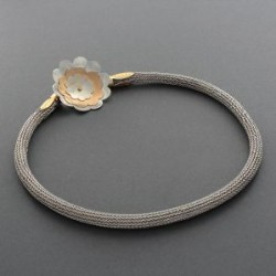 Charlyn Reano Silver and Gold Flower Necklace