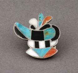 Zuni Inlay Pin - One Horned Kachina