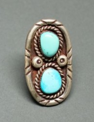 Tony Aguilar Ring of Two Turquoise Stones