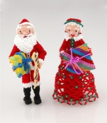 Zuni Beaded Santa and Mrs. Claus