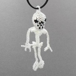 Beaded Skeleton Necklace by Farlan Quetawki