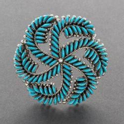 Edith Tsabetsaye Pin of Swirling Needlepoint Inlay