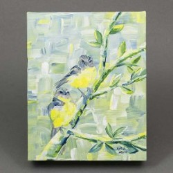 Marla Allison Original Painting Two Eastern Yellow Robins