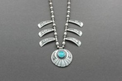 Hopi Necklace of Overlay Silver and Turquoise