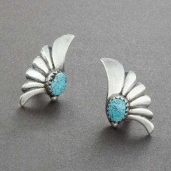 Lewis Lomay Earrings of Turquoise and Silver