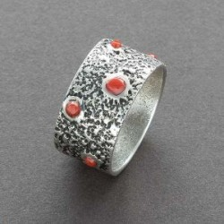 Tufa cast ring with coral by Hopi Steve Wikviya Larance