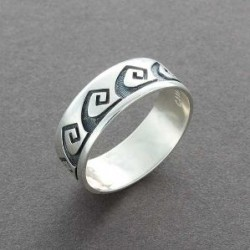 Silver Hopi Overlay Ring with Rolling Water Motif