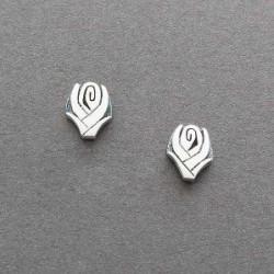 Hopi Silver Overlay Rose Earrings