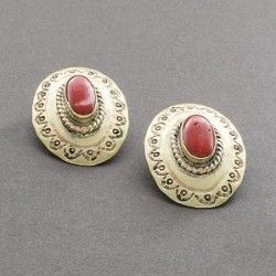 Brass and Coral Earrings by Tony Aguilar