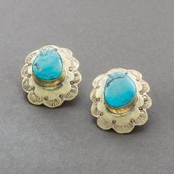 Tony Aguilar Earrings of Brass and Turquoise