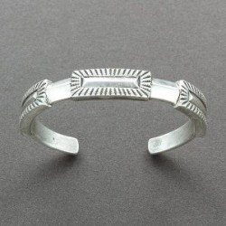 Perry Shorty Bracelet of Coin Silver With Repousse