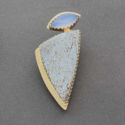 Gail Bird and Yazzie Johnson Pin of Blue Lace Agate