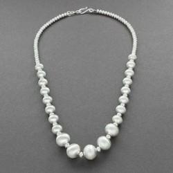 Ben Haley Beaded Necklace of Satin Silver Navajo Pearls
