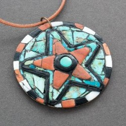 Hohokam Revival Mosaic Inlay Star Pendant