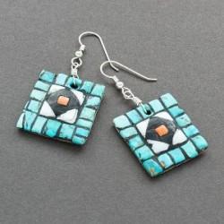 Hohokam Revival Mosaic Inlay Earrings of Diamonds