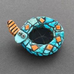 Hohokam Revival Style Mosaic Inlay Snake Pin