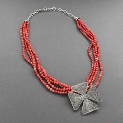 Silver Maltese Cross on Natural Coral Chenoa Custer
