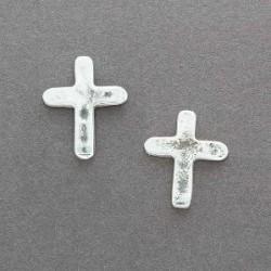 Ira Custer Tufa Cast Silver Cross Earrings