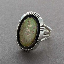 Contemporary Navajo Ring with Green Turquoise