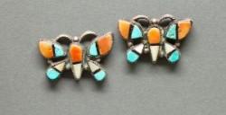 Old Zuni Inlay Butterfly Earrings
