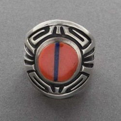 Inlay Ring with Coral by Philbert Begay