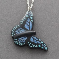 Kevin Pourier Necklace of Blue Monarch Butterfly