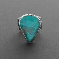 Turquoise and Silver Ring with Raised Bezel