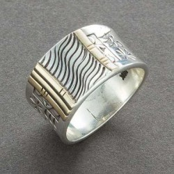 Silver and Gold Band Ring by Norbert Peshlakai